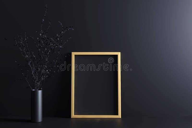 Modelo do cartaz com quadro do ouro e preto Blackground ilustração do vetor