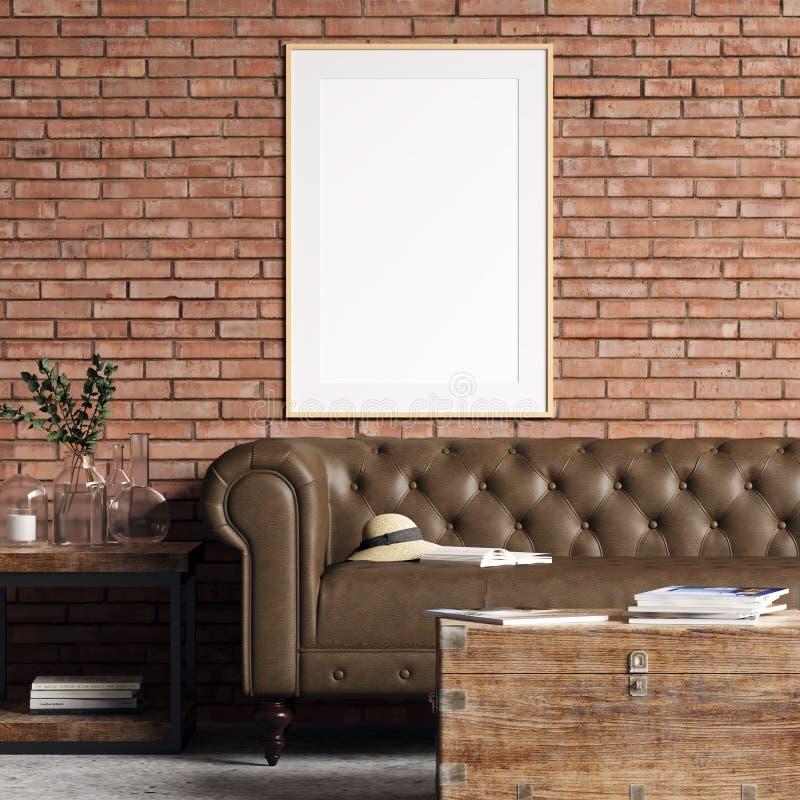 Modelo do cartaz no interior com parede de tijolo ilustração royalty free