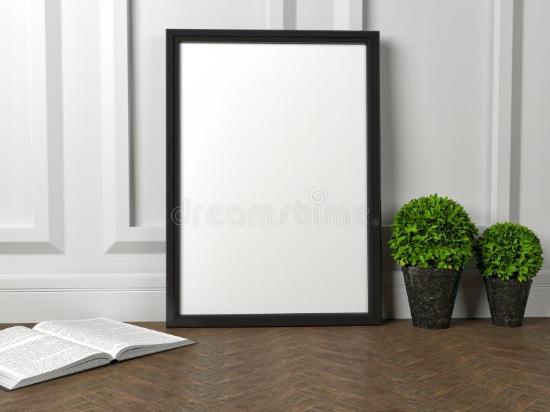 modelo do cartaz vazio do quadro e da flor verde no assoalho ilustração do vetor