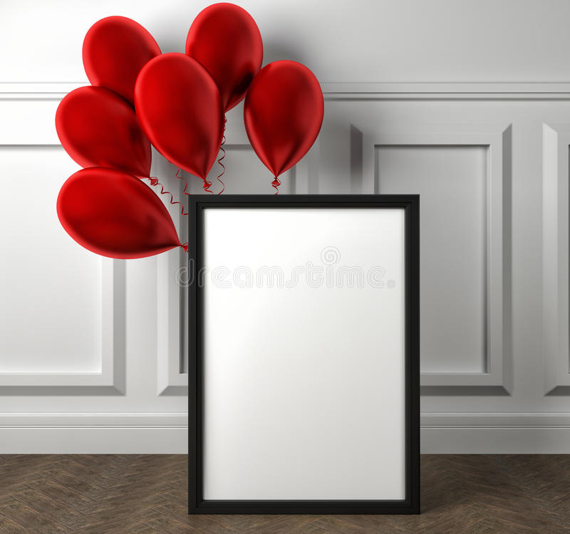 Modelo do cartaz vazio do quadro e de balões vermelhos no assoalho ilustração royalty free