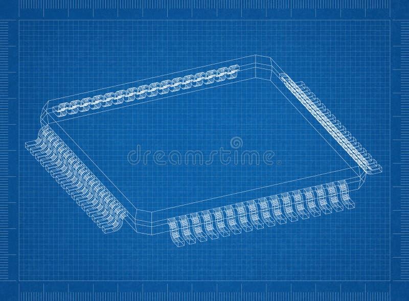 Modelo do chip de computador 3D - fotografia de stock royalty free