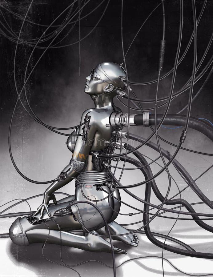 Modelo do Cyborg ilustração stock