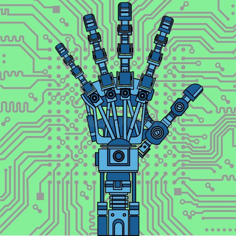 Modelo do desenho do braço do robô Pode ser usado como uma ilustração de ideias da robótica, inteligência artificial, prótese biô ilustração stock