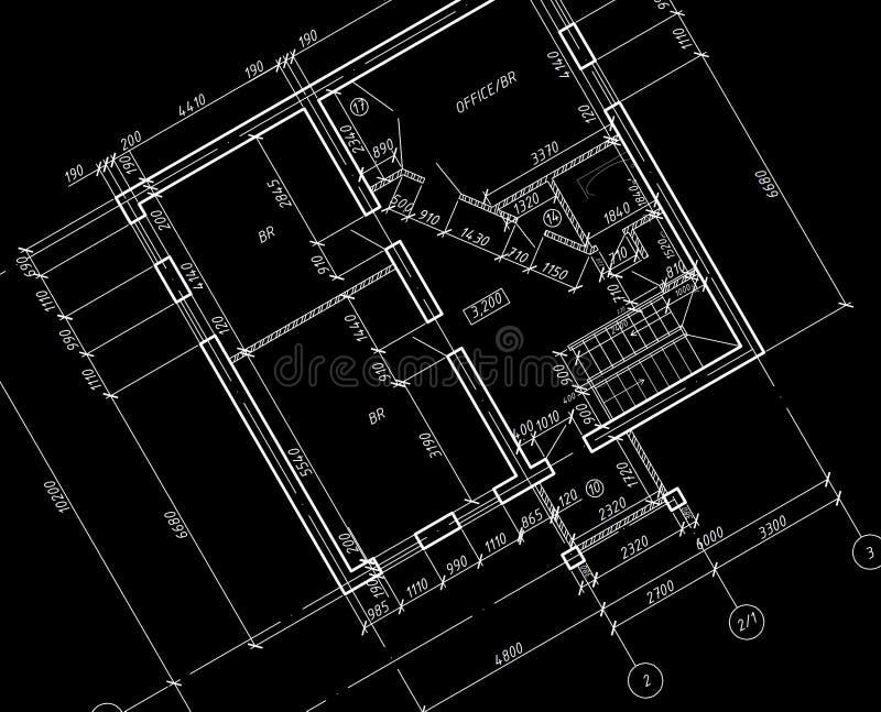 Modelo do desenho da planta arquitectónica do CAD. ilustração do vetor