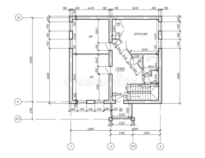 Modelo do desenho da planta do CAD ilustração royalty free