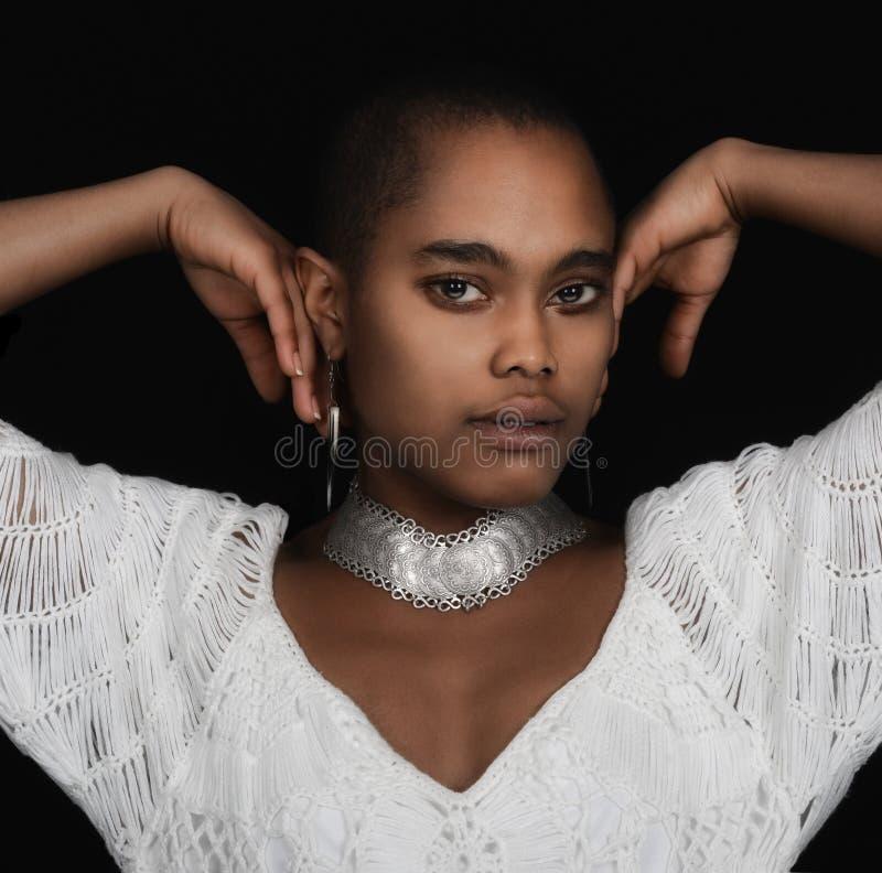 Modelo do encanto do Afro fotografia de stock royalty free