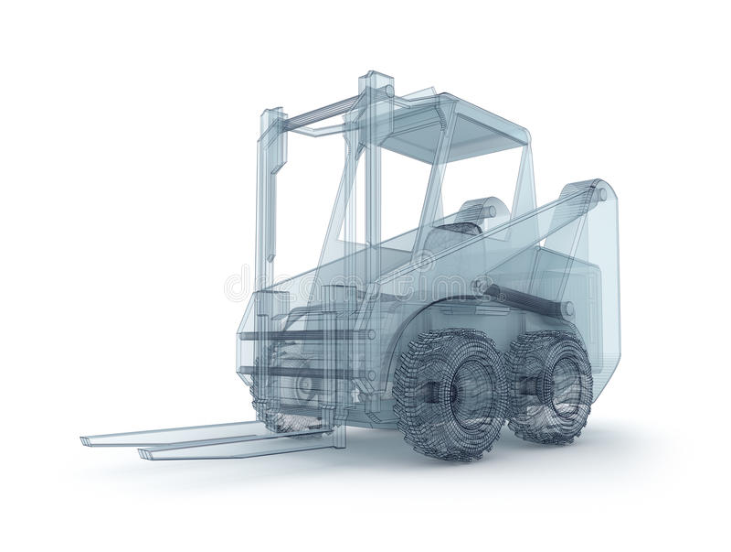 Modelo do fio do Forklift ilustração stock