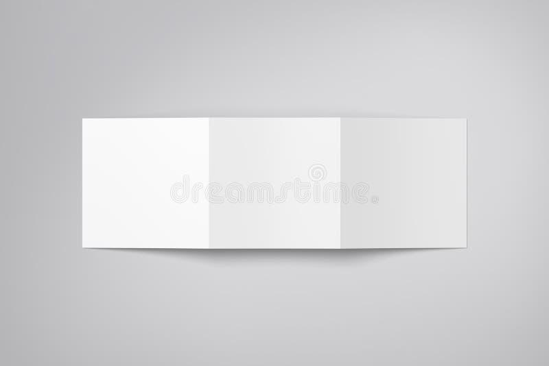 Modelo do folheto isolado Folheto de papel dobrável em três partes vazio pairando no fundo ilustração do vetor