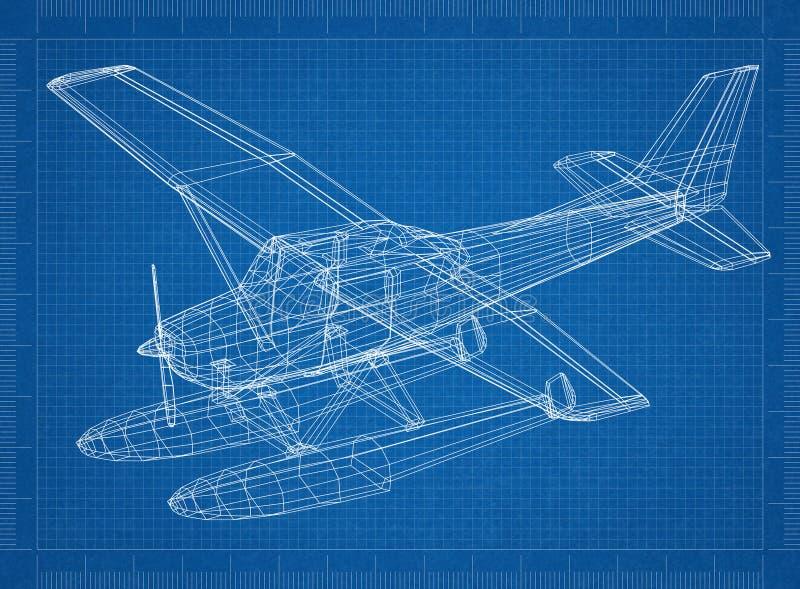 Modelo do hidroavião 3D ilustração stock