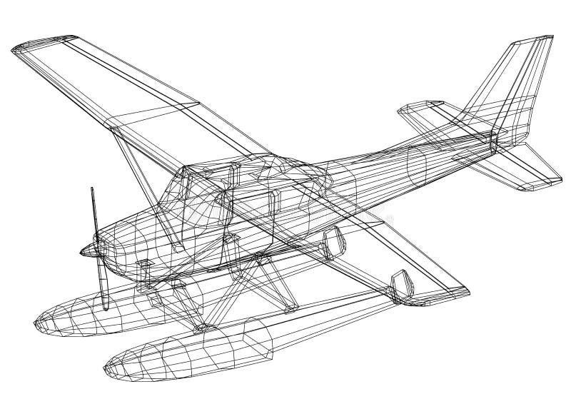 Modelo do hidroavião 3D - isolado ilustração do vetor