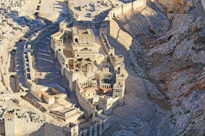 Modelo do Jerusalém antigo e da cidade mais baixa imagens de stock
