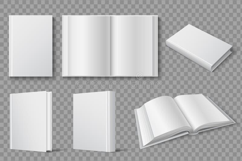Modelo do livro Livros fechados e abertos brancos vazios Livros de texto e molde isolado folhetos do vetor ilustração royalty free