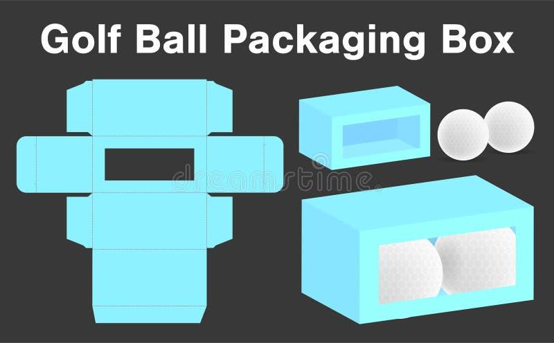 Modelo do molde 3d do pacote da caixa da bola de golfe ilustração royalty free