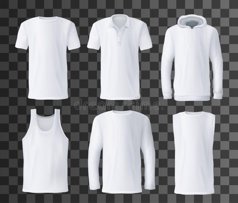 Modelo do molde, do polo, do hoodie e da camiseta de alças do t-shirt ilustração royalty free