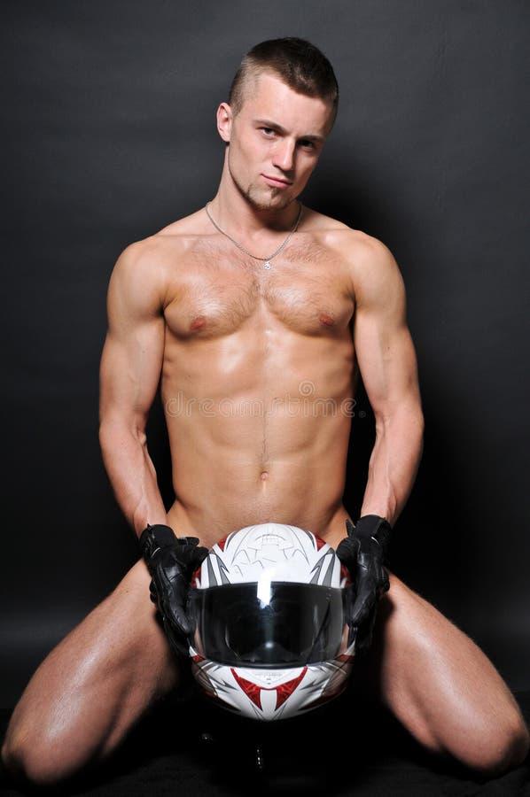 Modelo do motociclista fotografia de stock