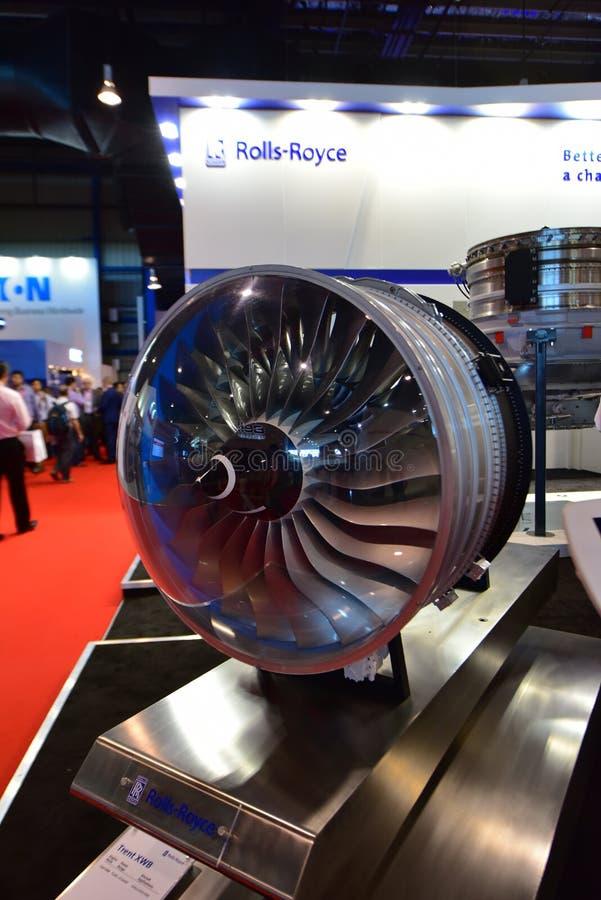 Modelo do motor de Rolls Royce Trent XWB na exposição em Singapura Airshow foto de stock royalty free
