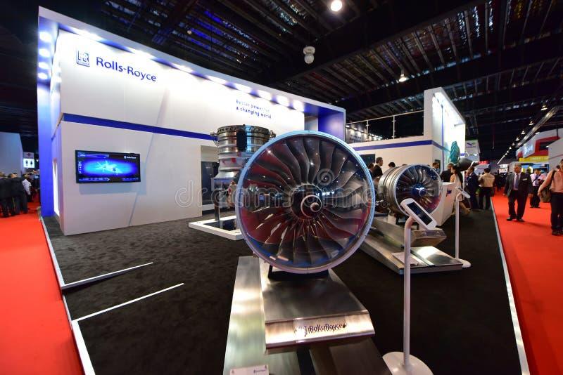 Modelo do motor de Rolls Royce Trent XWB na exposição em Singapura Airshow foto de stock
