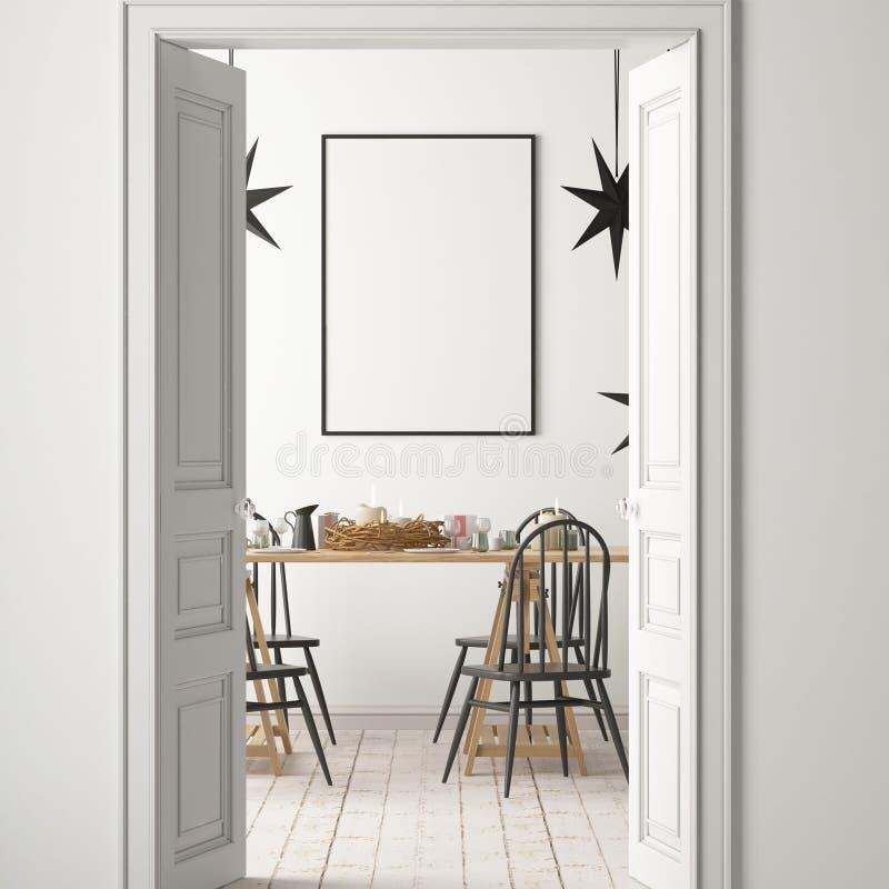 Modelo do Natal com um cartaz no fundo de uma tabela de jantar rendição 3d ilustração do vetor