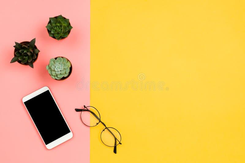 Modelo do negócio com o smartphone com a tela preta do copyspace, as flores suculentos e os vidros foto de stock