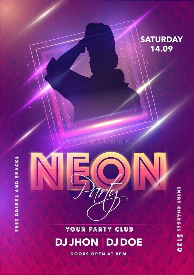 Modelo do Neon Party ou Design do Flyer com Homem Silhueta e Efeito de Iluminação fotos de stock royalty free