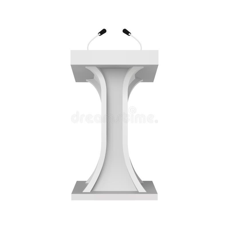 Modelo do pódio do discurso Tribuna branca com microfones Ilustração do vetor do suporte da tribuna ilustração royalty free