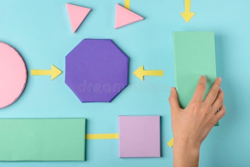 Modelo do papel da cor do fluxograma imagem de stock royalty free