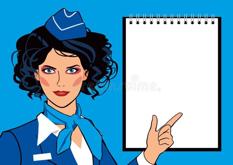 Modelo do pop art de uma comissária de bordo bonita da menina no uniforme e da placa vazia para o texto ilustração do vetor