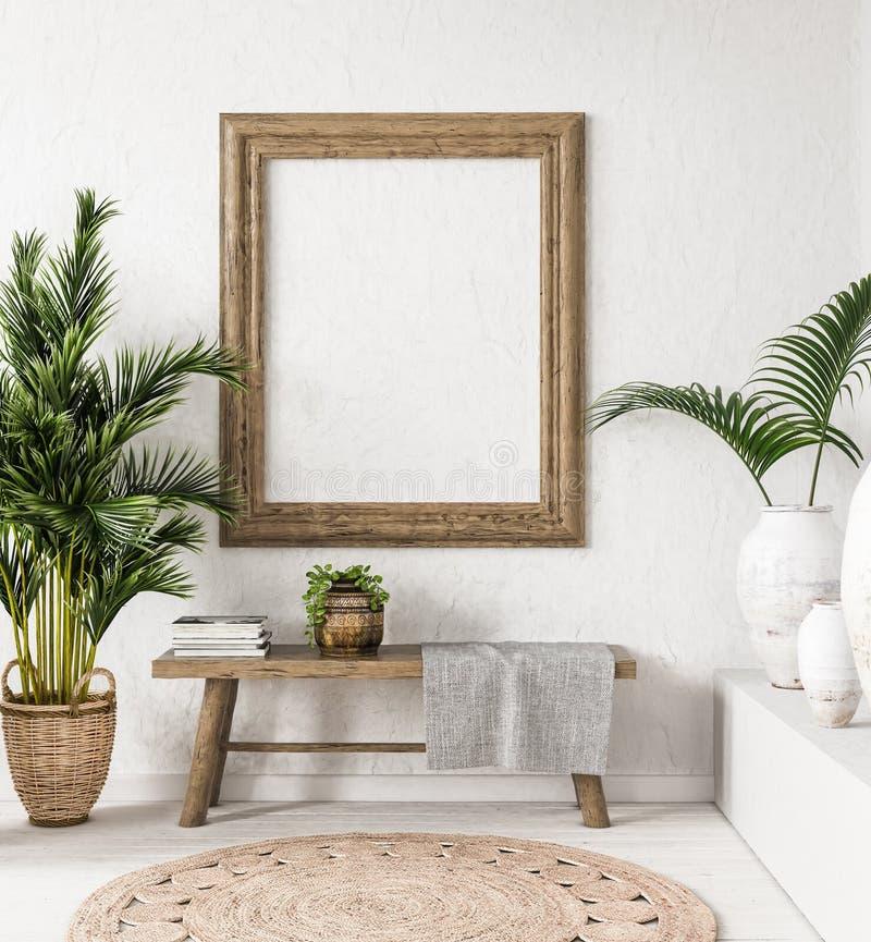Modelo do quadro de madeira do Ld no fundo interior, estilo de Scandi-boho fotos de stock