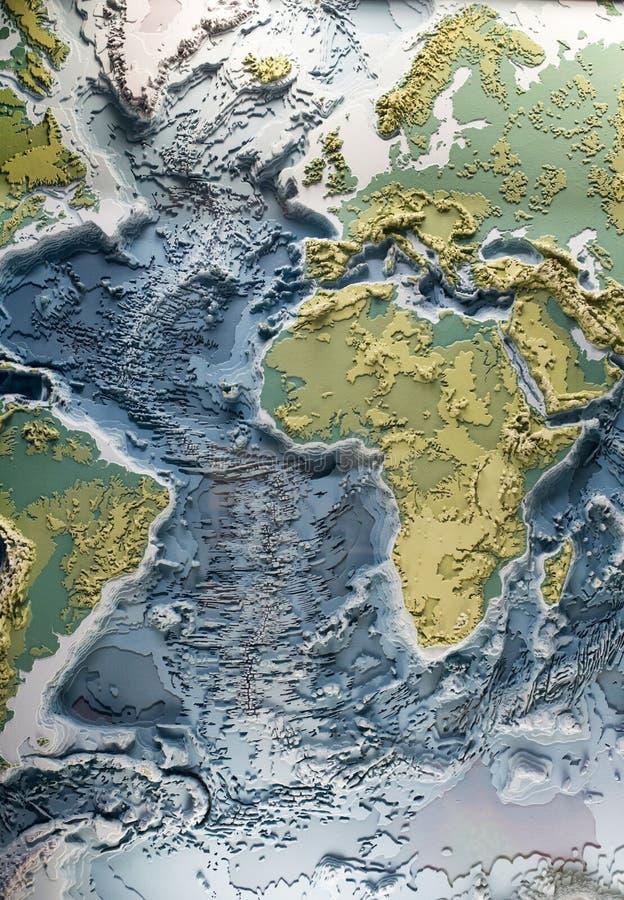 Modelo do relevo 3d do mundo imagens de stock
