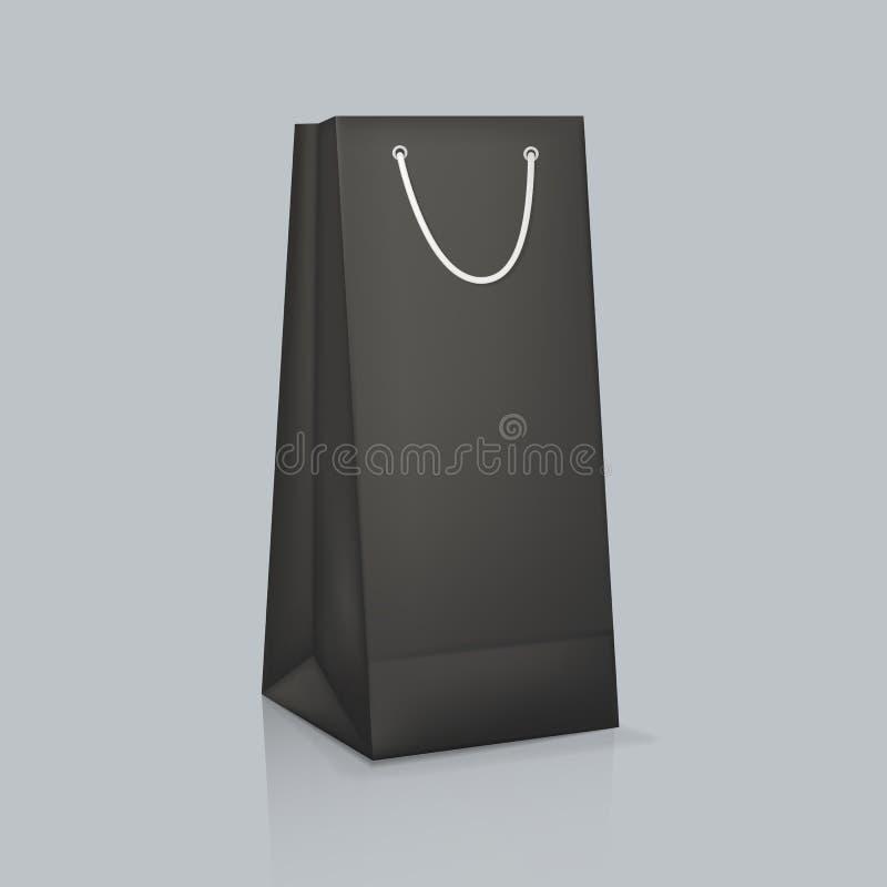 Modelo do saco de papel preto real?stico Empacotamento da placa da identidade corporativa ilustração do vetor