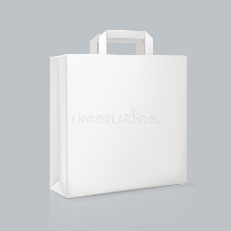 Modelo do saco de papel quadrado branco real?stico Empacotamento da identidade corporativa ilustração stock