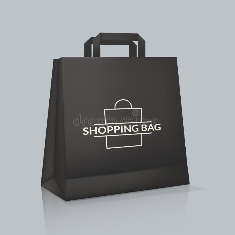 Modelo do saco de papel real?stico com logotype Empacotamento da identidade corporativa ilustração stock
