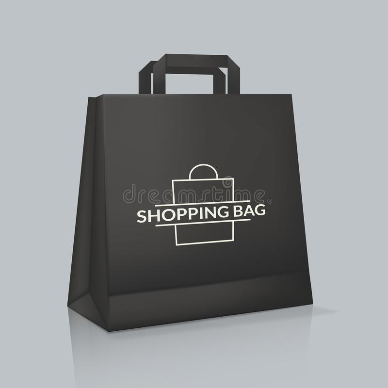 Modelo do saco de papel real?stico com logotype Empacotamento da identidade corporativa ilustração do vetor