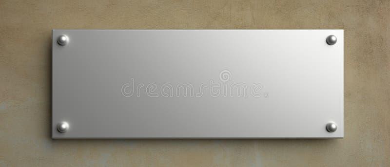 Modelo do sinal da parede vazia, ilustração 3d Molde do signage do escritório ilustração royalty free