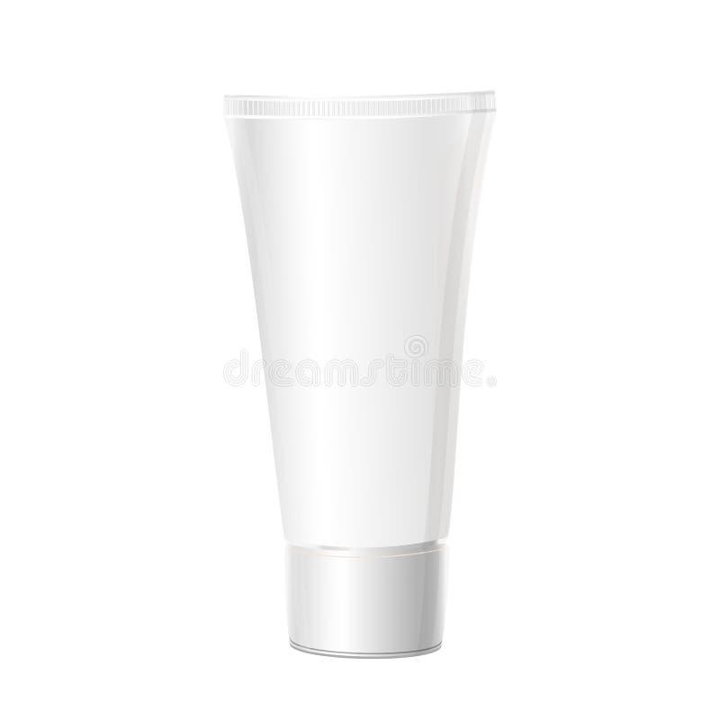 Modelo do tubo para o creme Isolado no fundo branco Coleção de empacotamento Vetor ilustração stock