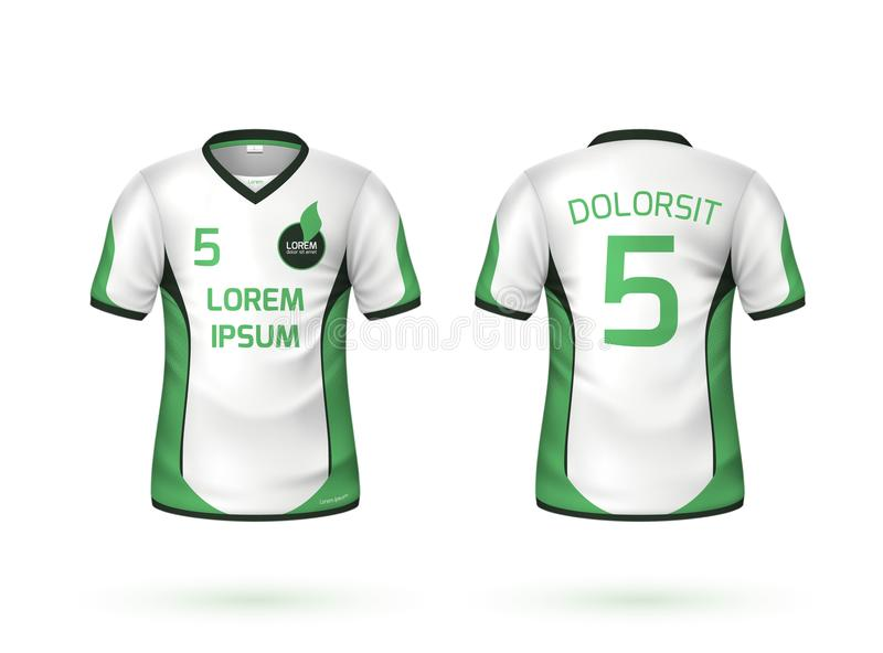 Modelo do uniforme do t-shirt do futebol do futebol do vetor ilustração stock