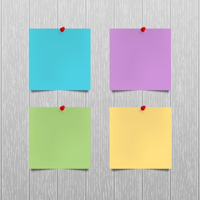 Modelo do vetor As folhas do papel da cor com um impulso vermelho fixam a suspensão em uma parede de madeira cinzenta do escritór ilustração stock