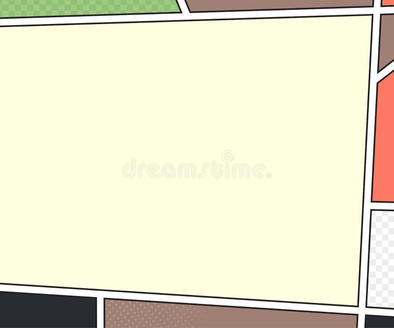 Modelo do vetor da página da banda desenhada estilo do pop art ilustração stock