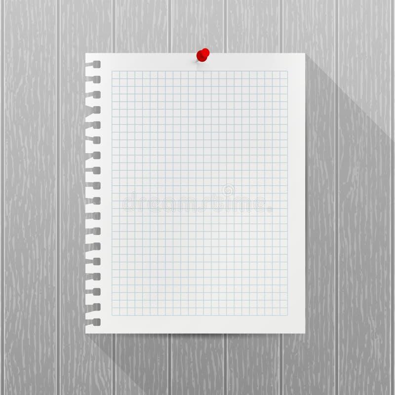 Modelo do vetor Folha do papel do caderno com um pino vermelho do impulso que pendura em uma parede de madeira cinzenta Espaço em ilustração stock