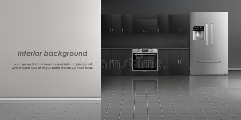 Modelo do vetor do interior da sala da cozinha ilustração stock
