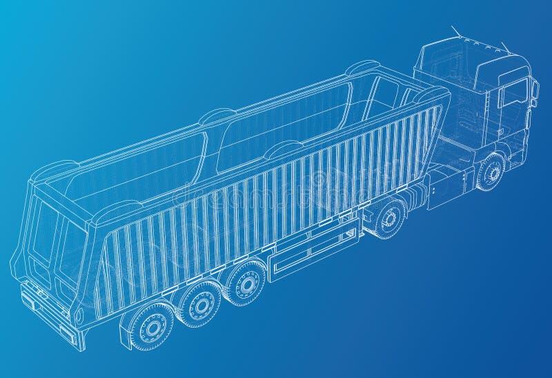 Modelo do vetor do reboque do caminhão basculante do caminhão para anunciar Ilustração criada de 3d Fio-quadro ilustração stock
