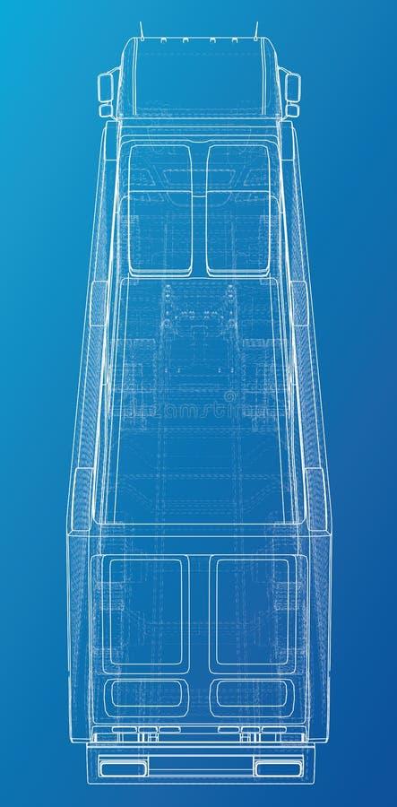 Modelo do vetor do reboque do caminhão basculante do caminhão para anunciar Ilustração criada de 3d Fio-quadro ilustração do vetor