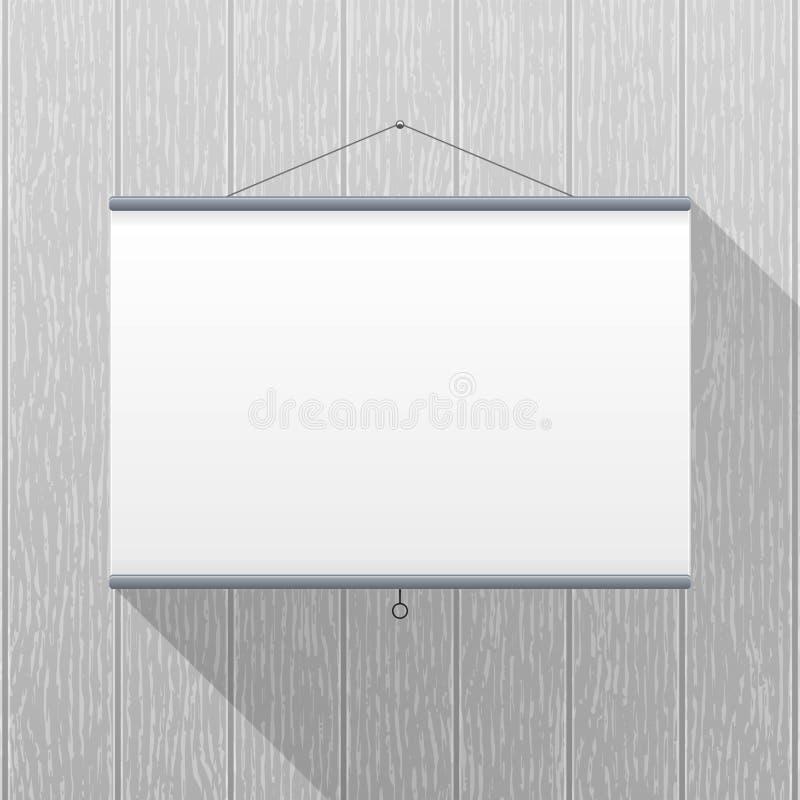 Modelo do vetor Tela do projetor que pendura em uma parede de madeira cinzenta Espaço em branco vazio Molde criativo do interior  ilustração royalty free