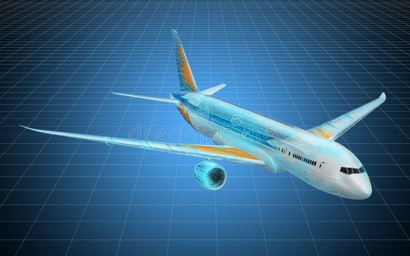 Modelo do visualização 3d cad do avião, modelo rendi??o 3d ilustração do vetor