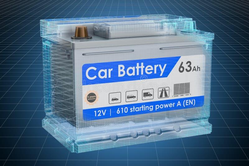 Modelo do visualização 3d cad da bateria de carro, modelo rendi??o 3d ilustração stock