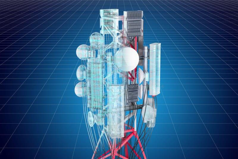 Modelo do visualização 3d cad da torre da pilha, rendição 3D ilustração royalty free