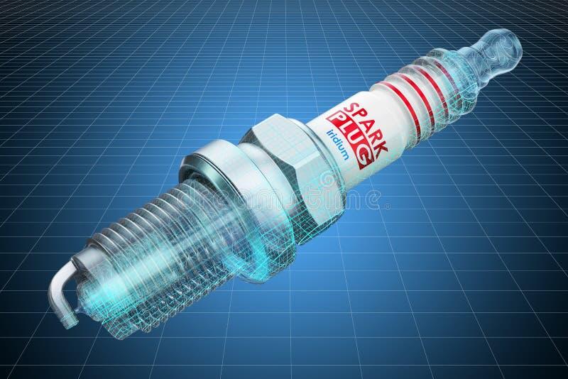 Modelo do visualização 3d cad da vela de ignição, modelo rendi??o 3d ilustração stock