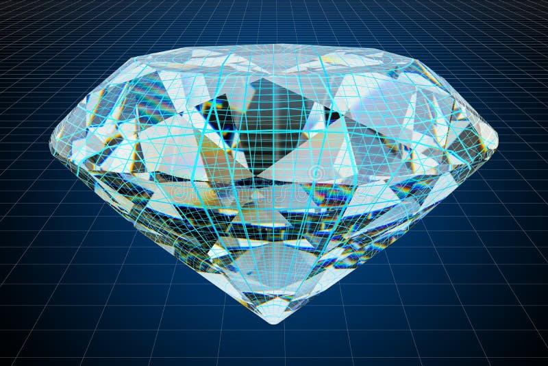 Modelo do visualização 3d cad do diamante, rendição 3D ilustração royalty free
