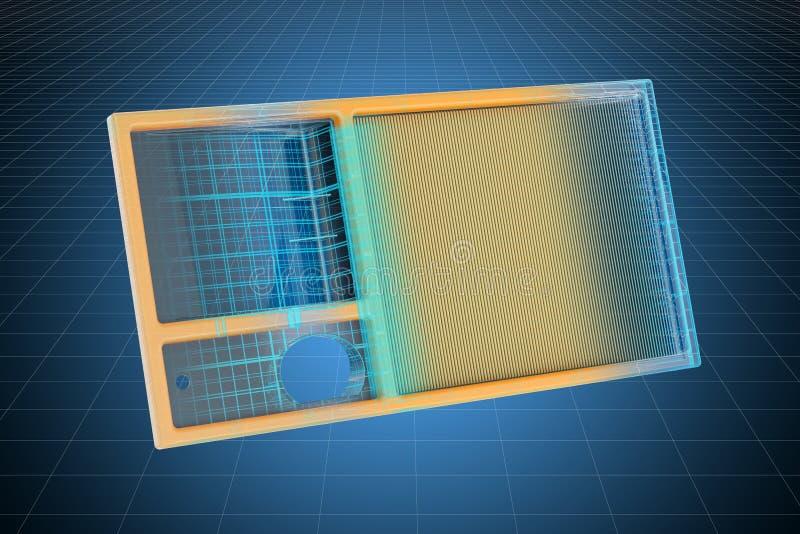 Modelo do visualização 3d cad do filtro de ar, modelo rendi??o 3d ilustração stock