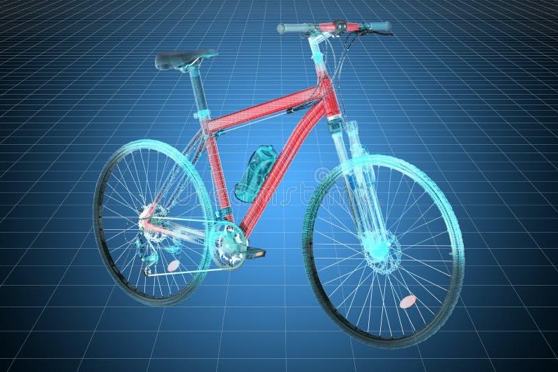 Modelo do visualização 3d cad do 'trotinette' da bicicleta rendi??o 3d ilustração stock